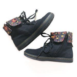 Dr. Martens Clover Floral Canvas Boots Size 2
